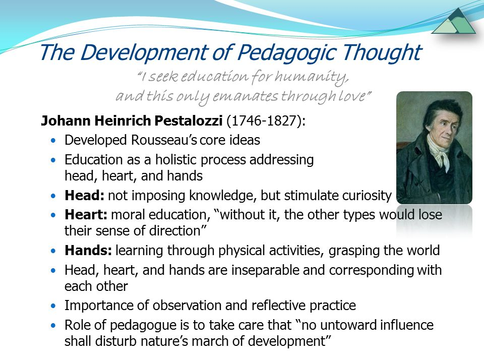 The Development of Pedagogic Thought New Education Movement: Applied these thoughts into school context (Montessori, Steiner, Fröbel, Hahn) Refined concept of children as competent ( A child has a hundred languages - Malaguzzi) and as equals ( Children don't become humans, they already are - Korczak) Development of child participation and children's rights in pedagogic concepts of Montessori and Korczak Mainstreamed pedagogic thinking beyond educational institutions  social pedagogy to address wider social issues and tackle disadvantage / social exclusion The children have been vested with unknown powers that could lead the way to a better future (Maria Montessori) 
