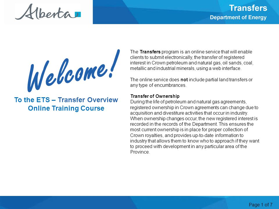 Page 1 of 7 The Transfers program is an online service that will enable clients to submit electronically, the transfer of registered interest in Crown