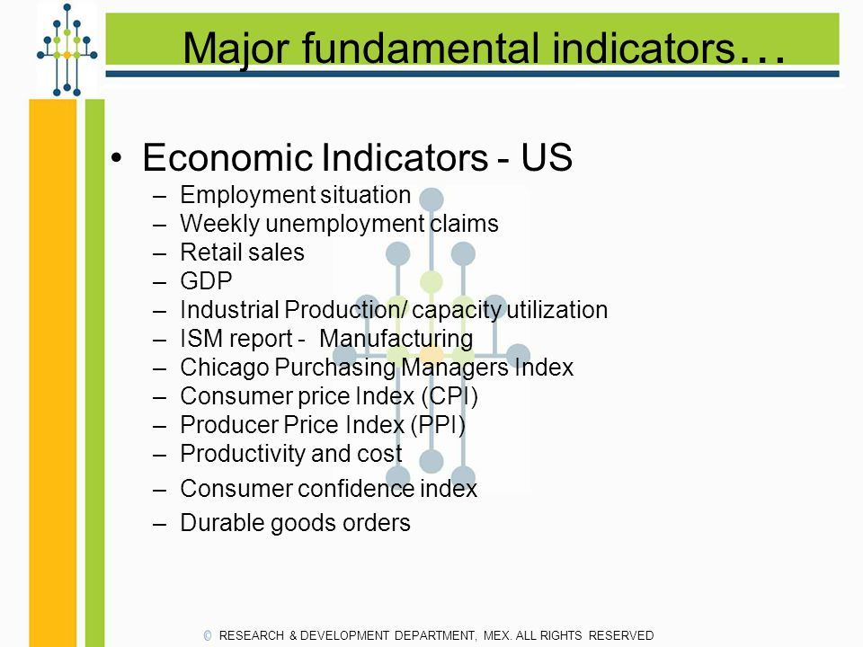 Major fundamental indicators … Economic Indicators - US –Employment situation –Weekly unemployment claims –Retail sales –GDP –Industrial Production/ capacity utilization –ISM report - Manufacturing –Chicago Purchasing Managers Index –Consumer price Index (CPI) –Producer Price Index (PPI) –Productivity and cost –Consumer confidence index –Durable goods orders RESEARCH & DEVELOPMENT DEPARTMENT, MEX.