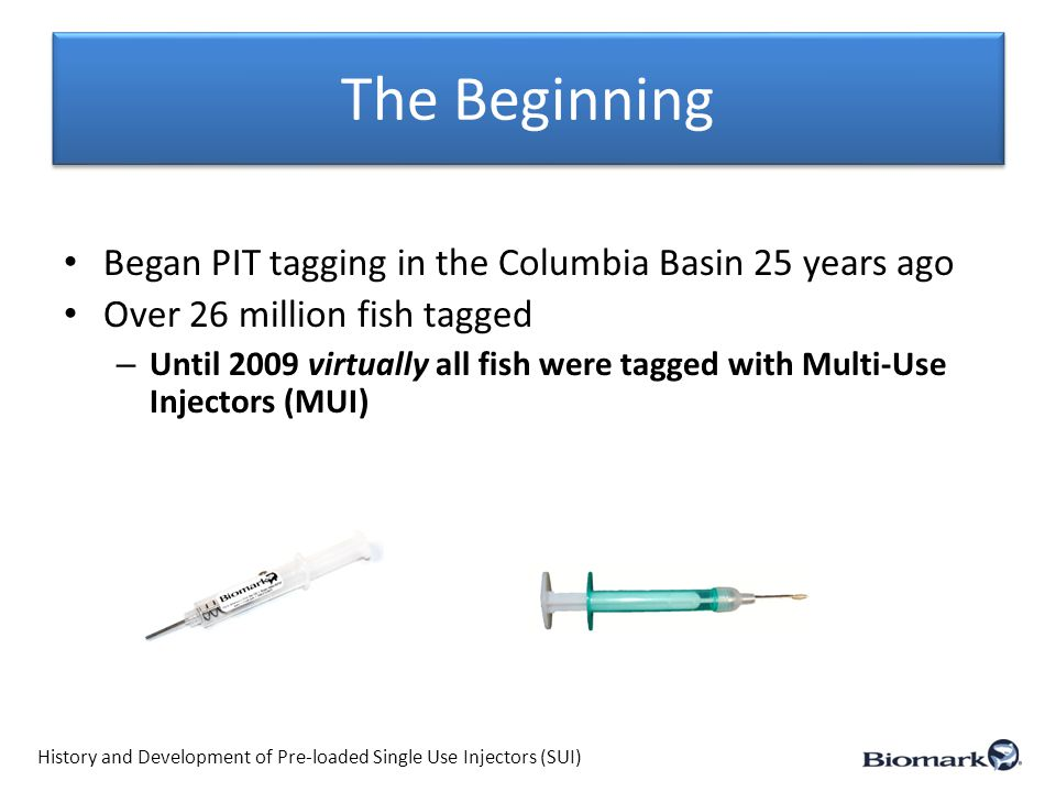 2009 SUI Usage (R & D Year) (COE funded projects with tagging conducted by Biomark) Comparing Preloaded Single Use Injectors to Multiple Use Injectors YearlingSub-yearling LocationSockeyeChinook Total 2009 Lyons Ferry Hatchery 57,000 67,000 Oxbow Hatchery 11,000 Sawtooth Hatchery 51,000 Lyons Ferry Hatchery 59,000 Umatilla/Irrigon Hat.