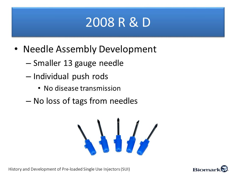 2008 R & D (cont.) – New implanter developed MK25 History and Development of Pre-loaded Single Use Injectors (SUI)
