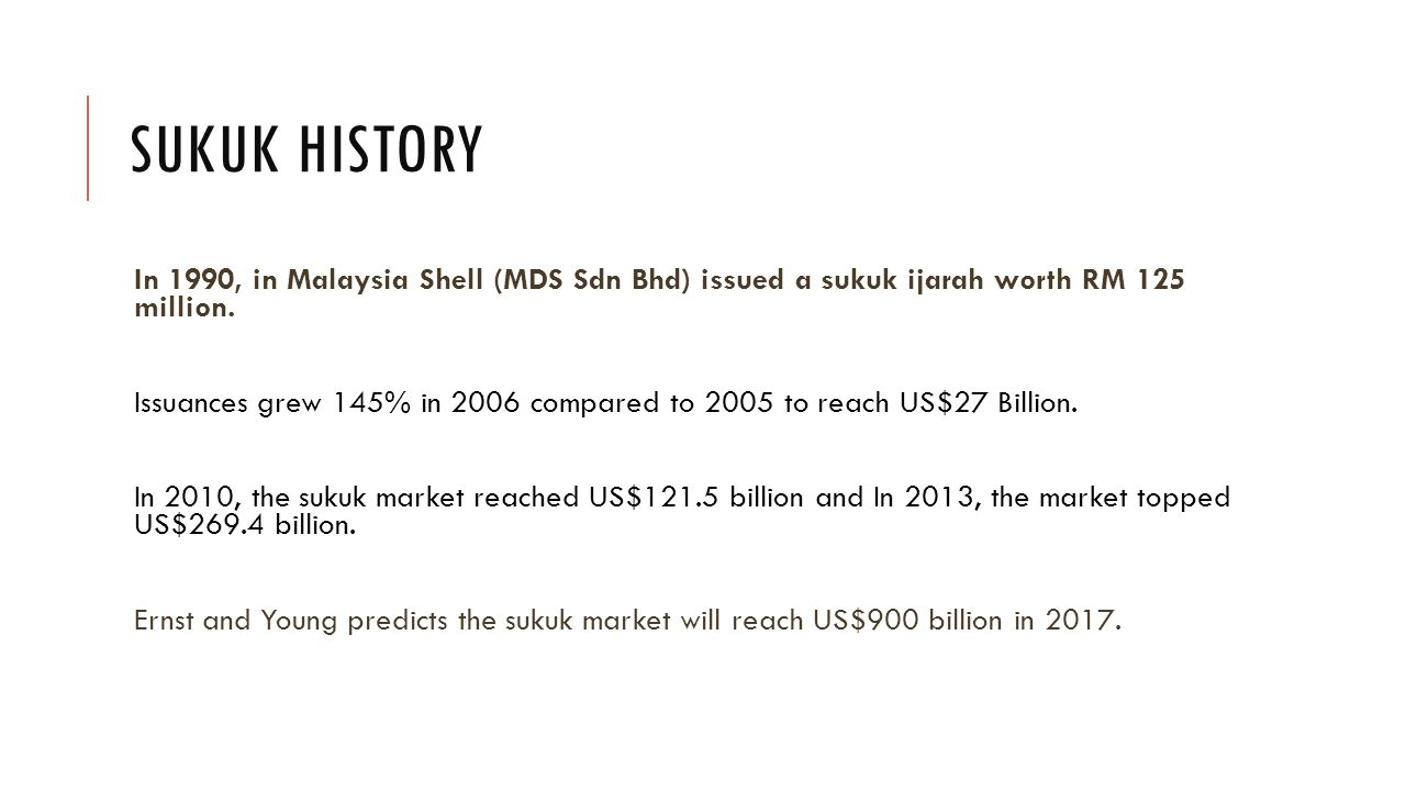 SUKUK HISTORY In 1990, in Malaysia Shell (MDS Sdn Bhd) issued a sukuk ijarah worth RM 125 million.