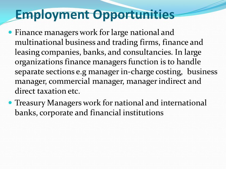 Employment Opportunities Finance managers work for large national and multinational business and trading firms, finance and leasing companies, banks,
