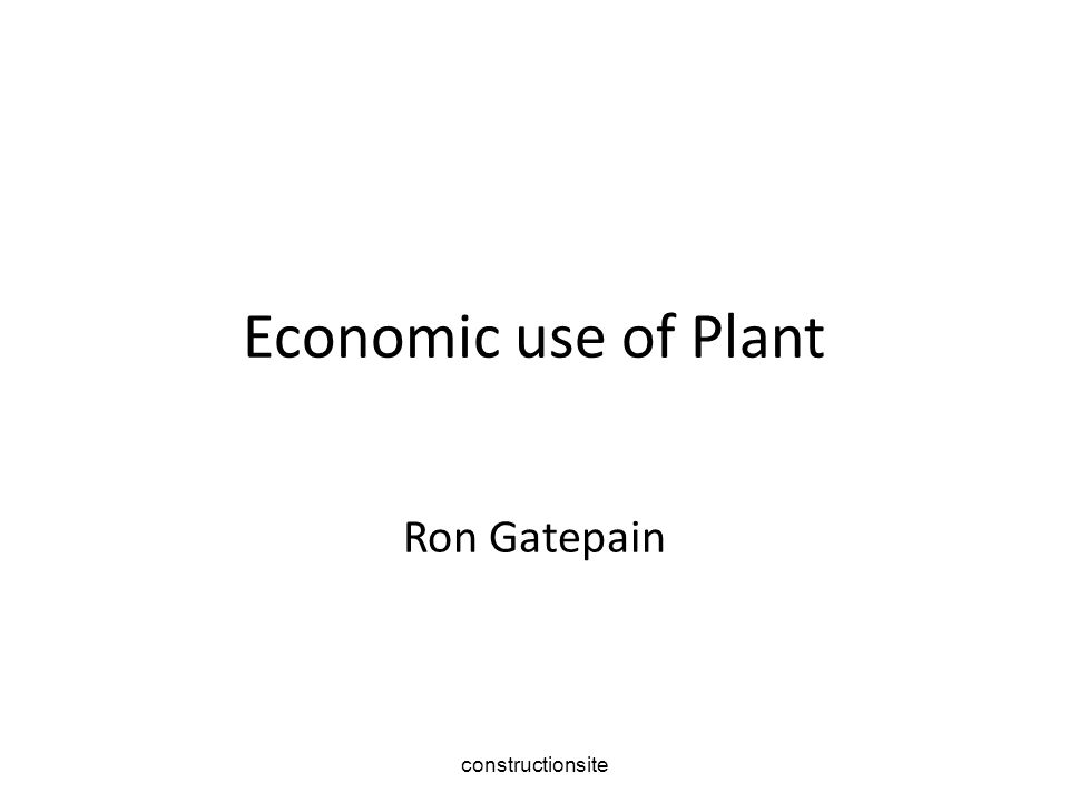 constructionsite Economic use of Plant Ron Gatepain