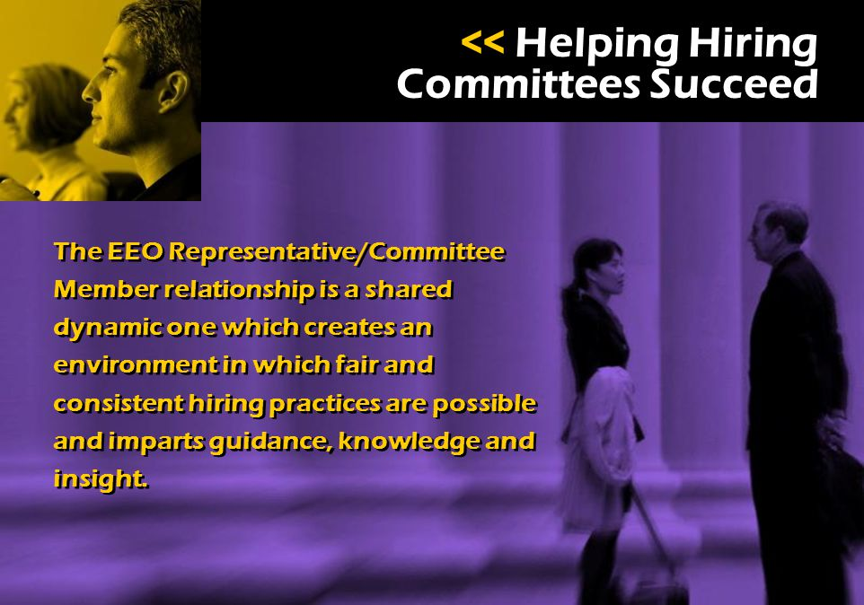 SUCCESS << Helping Hiring Committees Succeed The EEO Representative/Committee Member relationship is a shared dynamic one which creates an environment in which fair and consistent hiring practices are possible and imparts guidance, knowledge and insight.