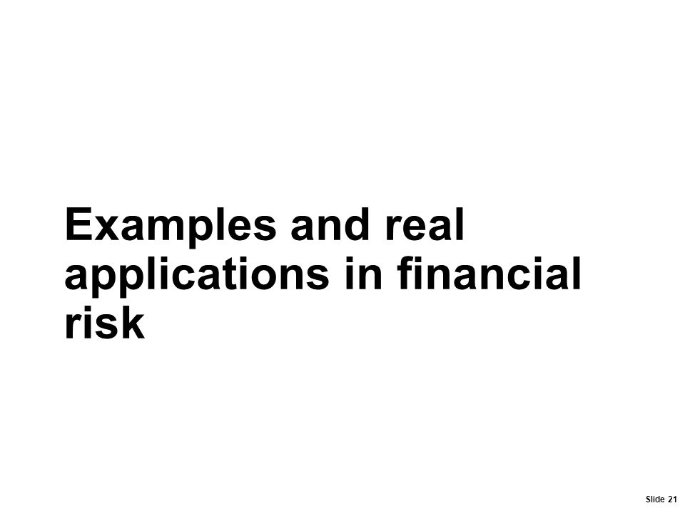 Slide 21 Examples and real applications in financial risk