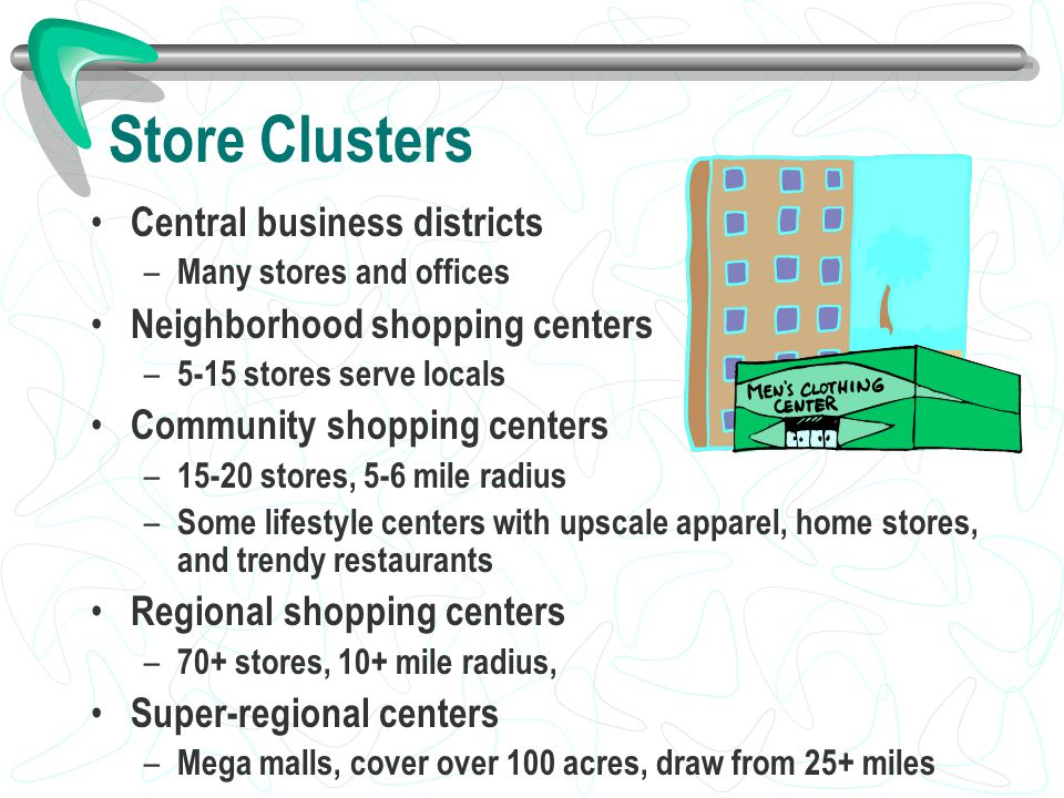 Store Clusters Central business districts – Many stores and offices Neighborhood shopping centers – 5-15 stores serve locals Community shopping center