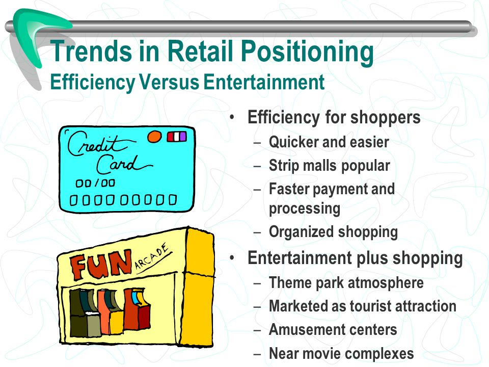 Trends in Retail Positioning Efficiency Versus Entertainment Efficiency for shoppers – Quicker and easier – Strip malls popular – Faster payment and p