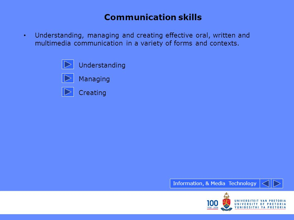 Communication skills Understanding, managing and creating effective oral, written and multimedia communication in a variety of forms and contexts. Und