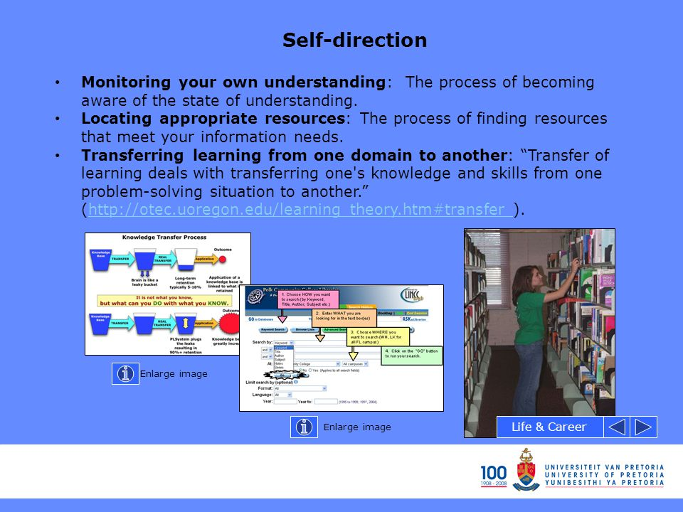 Self-direction Monitoring your own understanding: The process of becoming aware of the state of understanding. Locating appropriate resources: The pro