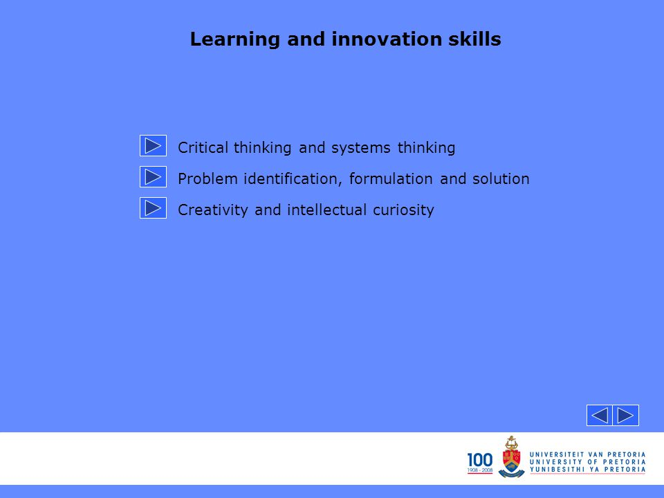 Learning and innovation skills Critical thinking and systems thinking Problem identification, formulation and solution Creativity and intellectual curiosity