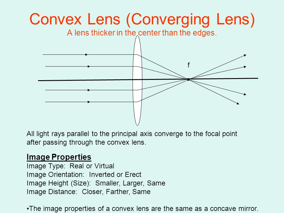 Convex Lens (Converging Lens) A lens thicker in the center than the edges.