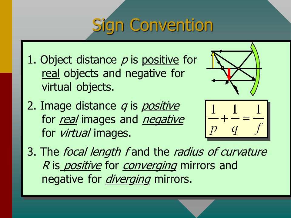 Mirror Equation y Y' R q p f The following equations are given without derivation. They apply equally well for both converging and diverging mirrors.
