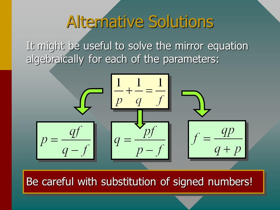 Working With Reciprocals: The mirror equation can easily be solved by using the reciprocal button (1/x) on most calculators: P q 1/x+1/x=1/x Finding f