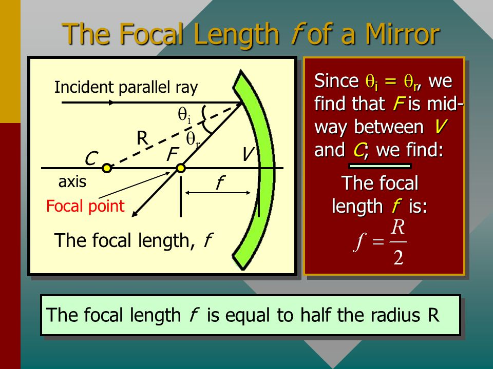 Spherical Mirrors A spherical mirror is formed by the inside (concave) or outside (convex) surfaces of a sphere. A concave spherical mirror is shown h