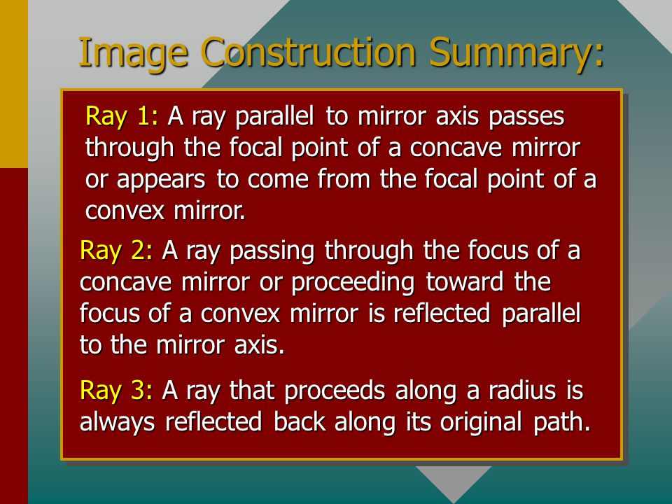 Definitions Focal length: The straight-line distance f from the surface of a mirror to focus of the mirror. Magnification: The ratio of the size of th