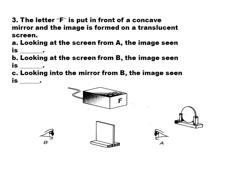 1. A student uses a concave mirror to form a sharp image of an illuminated object 'P' on a screen as shown in the diagram below. The distance between