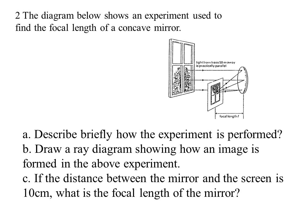 """3. The letter """" F """" is put in front of a concave mirror and the image is formed on a translucent screen. a. Looking at the screen from A, the image se"""