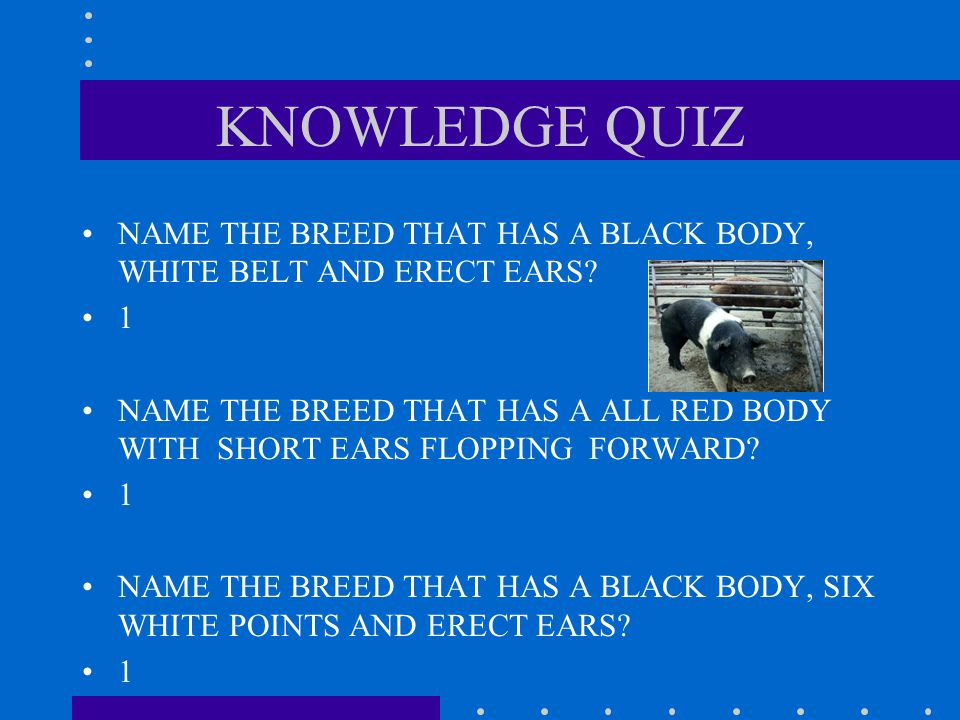 KNOWLEDGE QUIZ NAME THE SIX BREEDS KNOWN AS TERMINAL SIRES? 1 2 3 4 5 6