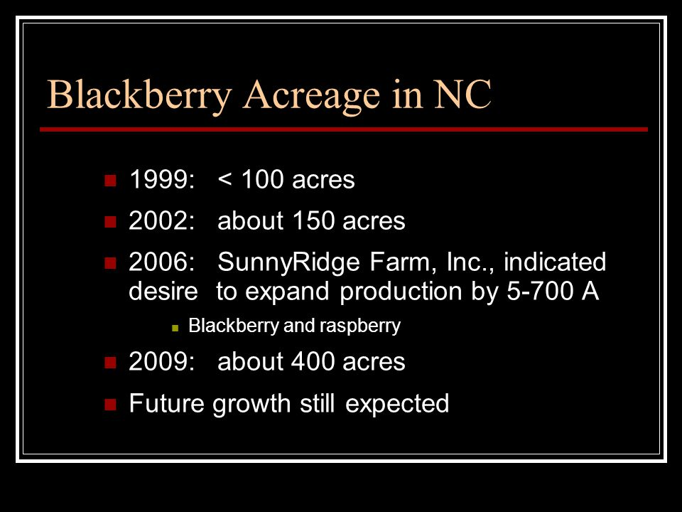 Blackberry Acreage in NC 1999: < 100 acres 2002: about 150 acres 2006: SunnyRidge Farm, Inc., indicated desire to expand production by 5-700 A Blackberry and raspberry 2009: about 400 acres Future growth still expected