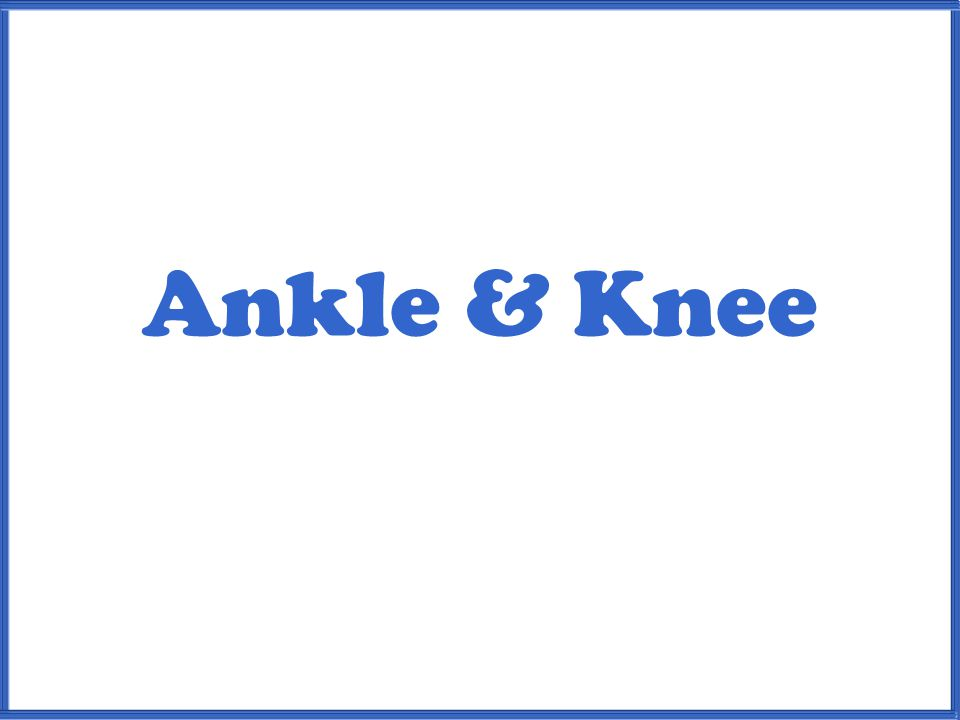 Ankle & Knee