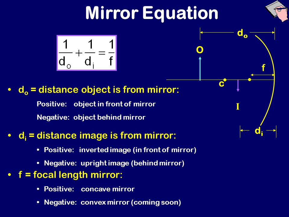 CONCAVE MIRROR: OBJECT BETWEEN V & F Image type: REAL VIRTUAL NO IMAGE Image location: BETWEEN F & V BETWEEN F & C AT C BEYOND C BEHIND MIRROR Image size: SAME ENLARGED REDUCED Image orientation:ERECT INVERTED