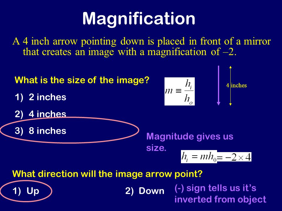 Magnification A 4 inch arrow pointing down is placed in front of a mirror that creates an image with a magnification of –2.