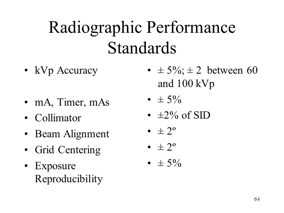 64 Radiographic Performance Standards kVp Accuracy mA, Timer, mAs Collimator Beam Alignment Grid Centering Exposure Reproducibility ± 5%; ± 2 between 60 and 100 kVp ± 5% ±2% of SID ± 2º ± 5%