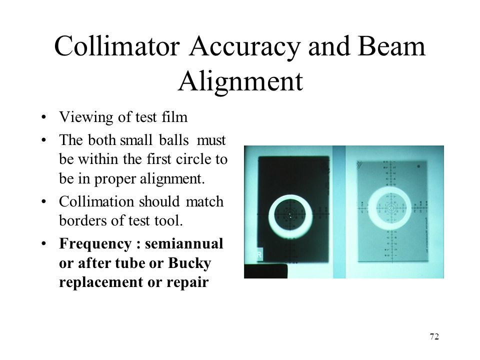 72 Collimator Accuracy and Beam Alignment Viewing of test film The both small balls must be within the first circle to be in proper alignment. Collima