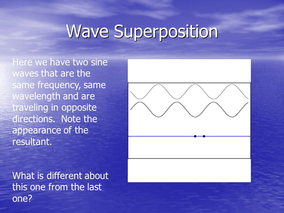 Wave Superposition Here we have two sine waves that are the same frequency, same wavelength and are traveling in opposite directions.