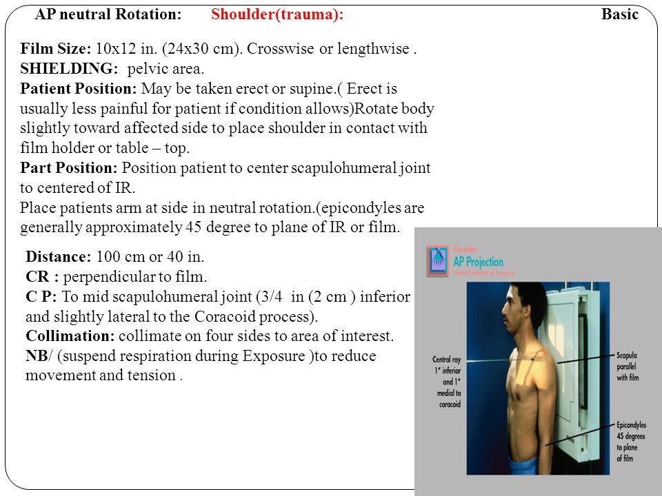 Transthoracic Lateral projection : Lawrence Method Basic Shoulder ( trauma).