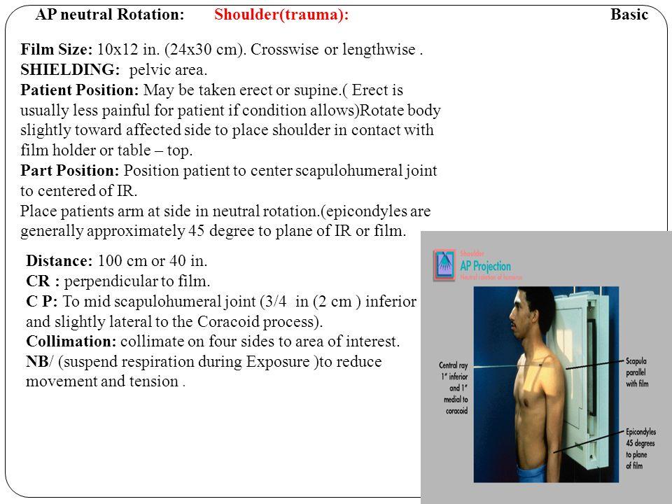 AP neutral Rotation: Shoulder(trauma): Basic Film Size: 10x12 in.