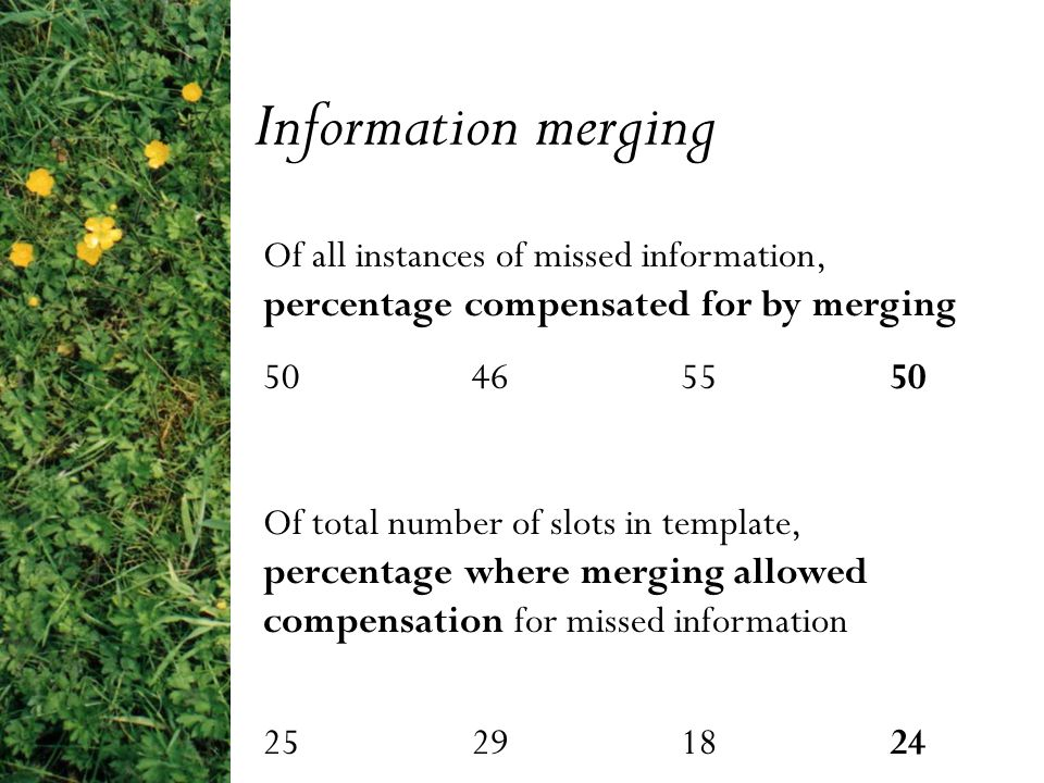 Of all instances of missed information, percentage compensated for by merging 50 46 55 50 Of total number of slots in template, percentage where merging allowed compensation for missed information 25 29 18 24 Information merging