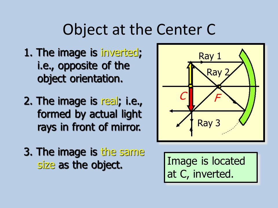 Object Outside Center C Concave mirror C F Ray 3 Ray 2 Ray 1 1.