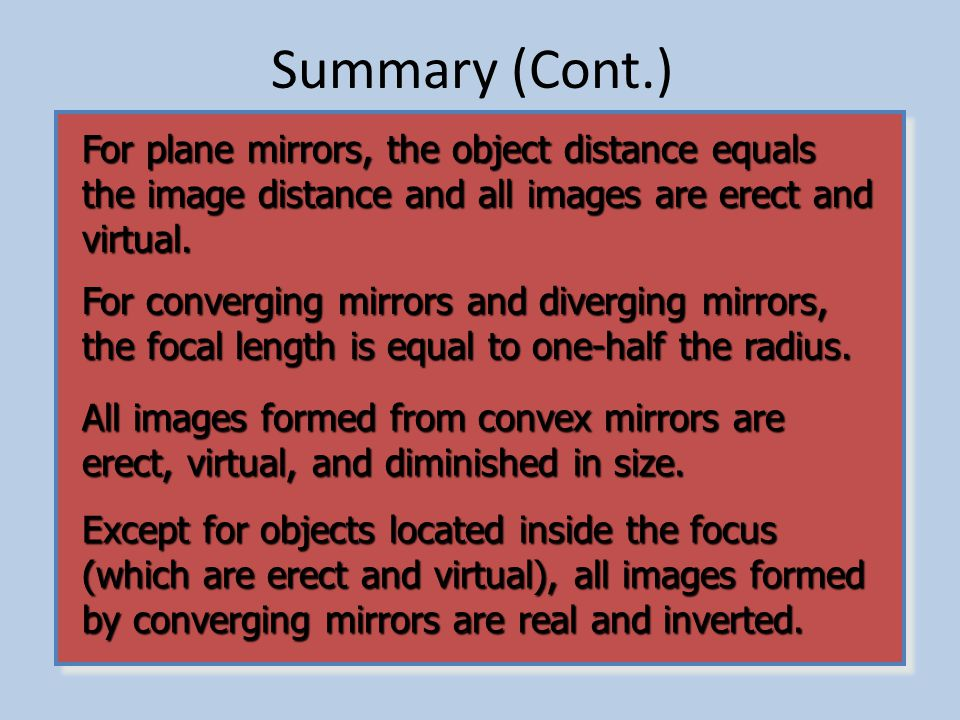 Image Construction Summary: Ray 1: A ray parallel to mirror axis passes through the focal point of a concave mirror or appears to come from the focal point of a convex mirror.