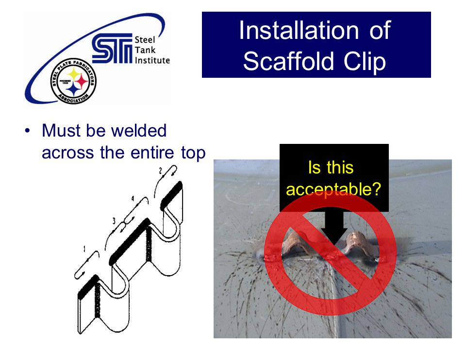 Installation of Scaffold Clip Must be welded across the entire top Is this acceptable?