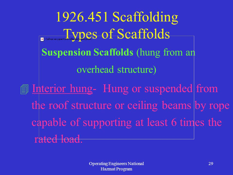 Operating Engineers National Hazmat Program 29 1926.451 Scaffolding Types of Scaffolds Suspension Scaffolds (hung from an overhead structure)  Interior hung- Hung or suspended from the roof structure or ceiling beams by rope capable of supporting at least 6 times the rated load.