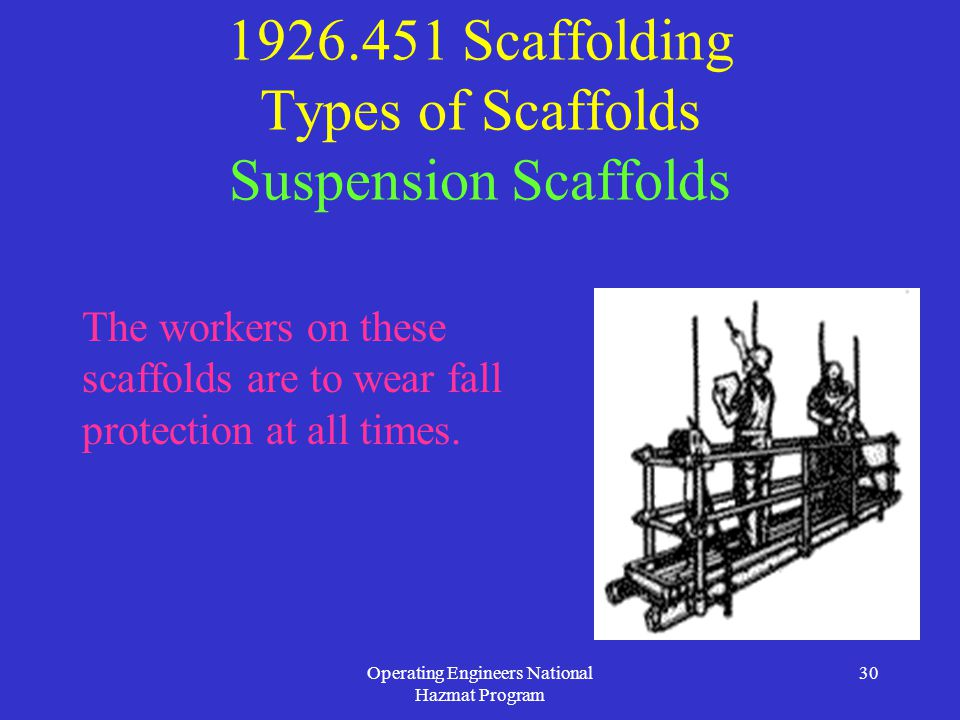 Operating Engineers National Hazmat Program 30 1926.451 Scaffolding Types of Scaffolds Suspension Scaffolds The workers on these scaffolds are to wear fall protection at all times.