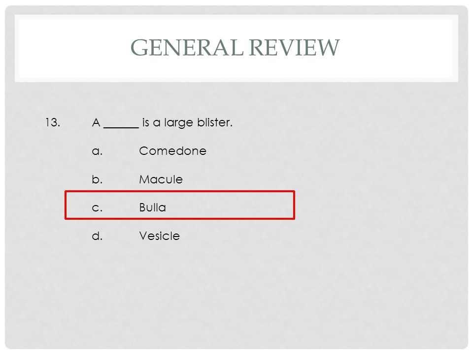 13.A ______ is a large blister. a.Comedone b.Macule c.Bulla d.Vesicle GENERAL REVIEW