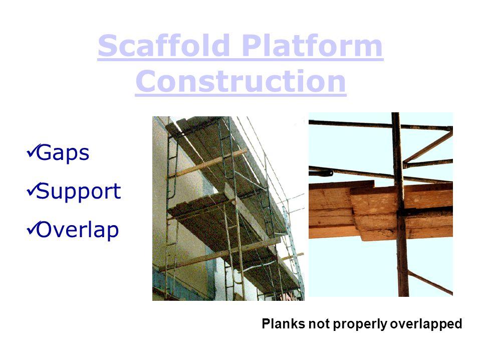 Scaffold Platform Construction Planks not properly overlapped Gaps Support Overlap