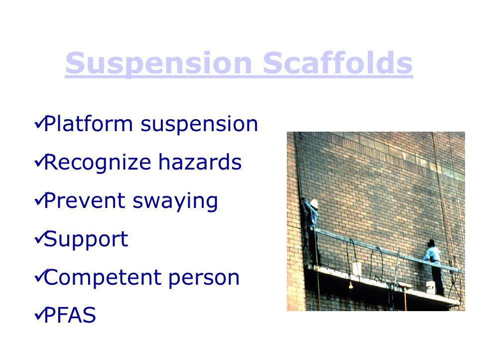 Suspension Scaffolds Platform suspension Recognize hazards Prevent swaying Support Competent person PFAS