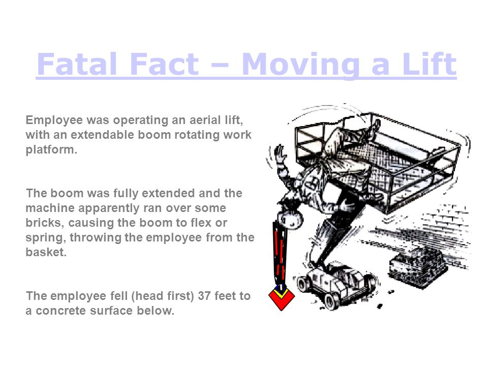 Fatal Fact – Moving a Lift Employee was operating an aerial lift, with an extendable boom rotating work platform. The boom was fully extended and the