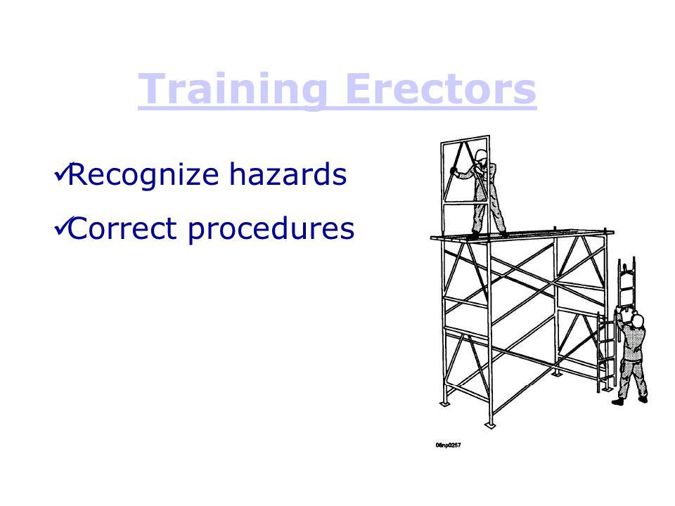 Training Erectors Recognize hazards Correct procedures