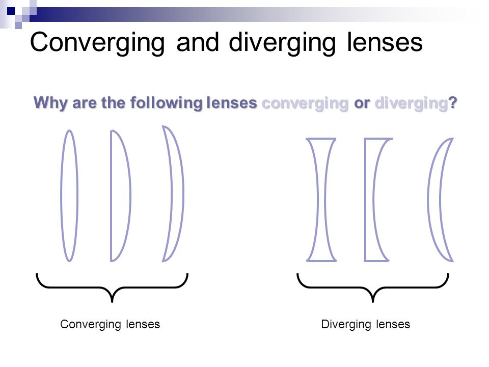 Converging and diverging lenses Why are the following lenses converging or diverging? Converging lensesDiverging lenses