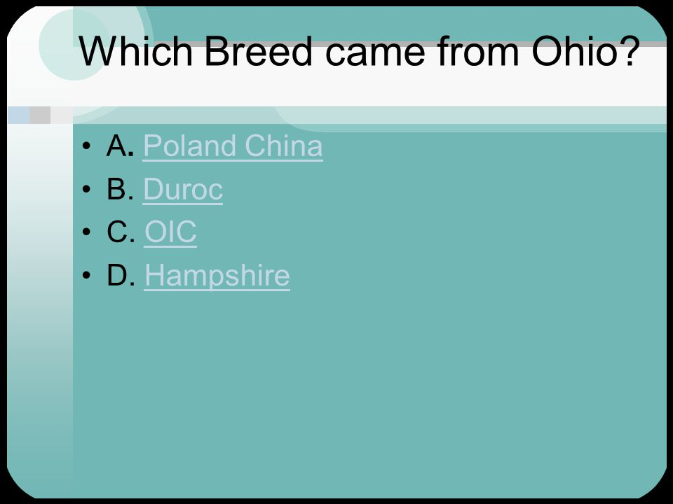 Which Breed came from Ohio. A. Poland ChinaPoland China B.
