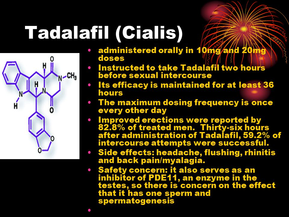 Tadalafil (Cialis) administered orally in 10mg and 20mg doses Instructed to take Tadalafil two hours before sexual intercourse Its efficacy is maintained for at least 36 hours The maximum dosing frequency is once every other day Improved erections were reported by 82.8% of treated men.