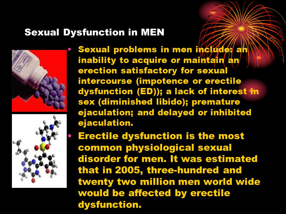 Physiological mechanisms of normal penile erections http://www.healthcentral.com/animation/408/17/Erectile_ Dysfunction.htmlhttp://www.healthcentral.com/animation/408/17/Erectile_ Dysfunction.html Stimulation of penile shaft by the nervous system leads to the secretion of nitric oxide (NO), causing the creation of cyclic guanosine monophosphate (cGMP) which functions to relax blood vessels (vasodilatation) so erectile tissues in the corpus cavernosa can fill with blood, and subsequently cause a penile erection.