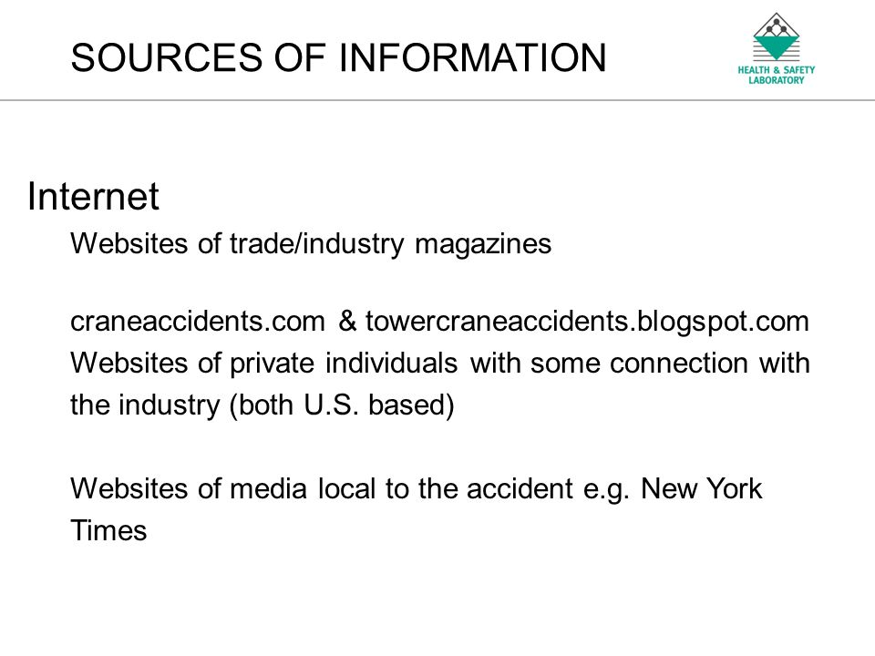 An Agency of the Health and Safety Executive EXAMPLES OF ACCIDENTS Erection/Dismantling or Extending New York – March 2008 Nothing technically wrong with the crane itself Accident centred on competence, procedural, communication issues & condition of lifting equipment in use These factors not confined to Tower Cranes or foreign countries