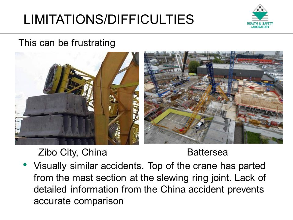 An Agency of the Health and Safety Executive LIMITATIONS/DIFFICULTIES This can be frustrating Zibo City, China Battersea Visually similar accidents.