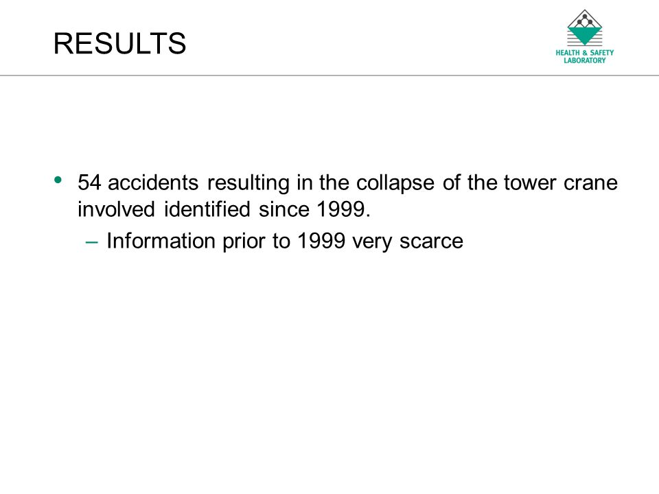 An Agency of the Health and Safety Executive 54 accidents resulting in the collapse of the tower crane involved identified since 1999.